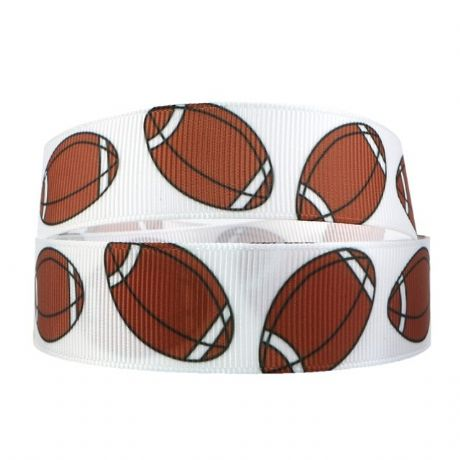 1 METRE OF RUGBY BALL RIBBON SIZE 7/8 HEADBANDS HAIR BOWS BIRTHDAT CAKE